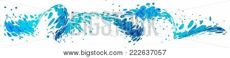 Splash abstract wave design isolated on white background