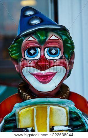 Porcelain clown vintage circus colourfull head blue hat stars