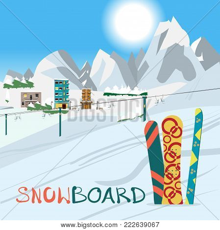Winter card background. Mountains, snowboard and ski equipment in the snow a ski resort. Flat cartoon vector illustration