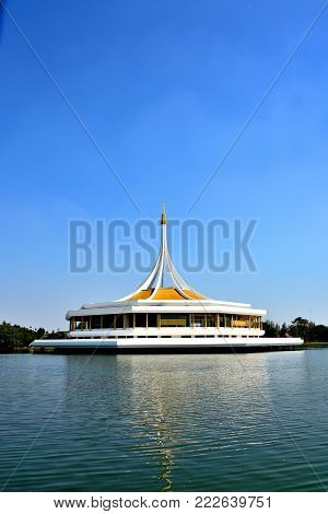 Beautiful pavilion on water has blue sky background public parkland Suan Luang R.9 in Bangkok Thailand