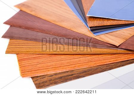 Wood coating color samples close up picture.