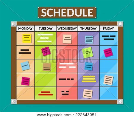 Bulletin board full of tasks on sticky note cards. Development, team work, agenda, schedule, to do list. Vector illustration in flat style