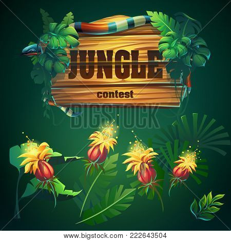 Vector cartoon different elements. Bright thicket with banner. For design game, websites and mobile phones, printing.