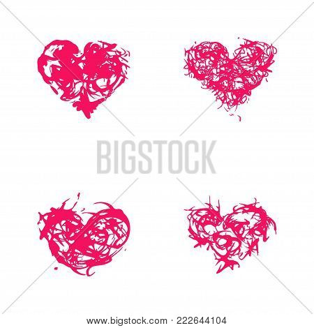 Grunge splash heart set. Stock vector illustration of love symbol, Valentine's Day signs. Unique heart shape texture tevplate for your design.