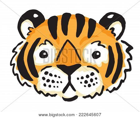 Stylised vector cartoon drawing of a cute tiger's face.