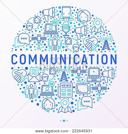 Communication concept in circle with thin line icons: e-mail, newspaper, letter, chat, tv, support, video call, microphone. Modern vector illustration, web page template.