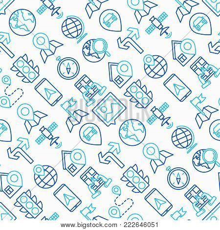 Navigation and direction seamless pattern with thin line icons: pointer, compass, navigator on tablet, traffic light, store locator, satellite. Modern vector illustration.