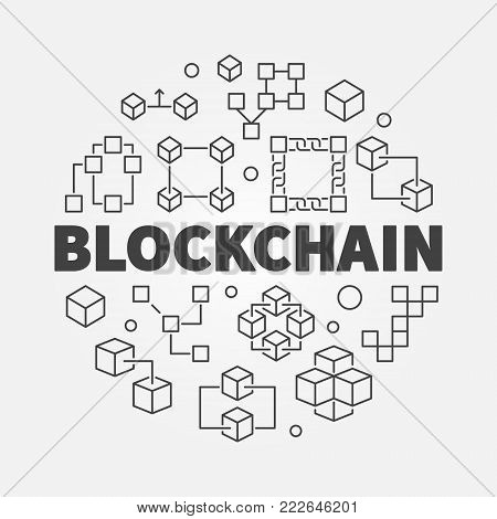 Blockchain concept illustration. Vector block chain computer technology round symbol in outline style
