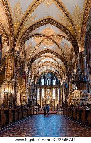 Budapest, Hungary - August 12, 2017:  Interior view of Matthias Church in Budapest. It is a Roman Catholic church located at the heart of Buda's Castle District.