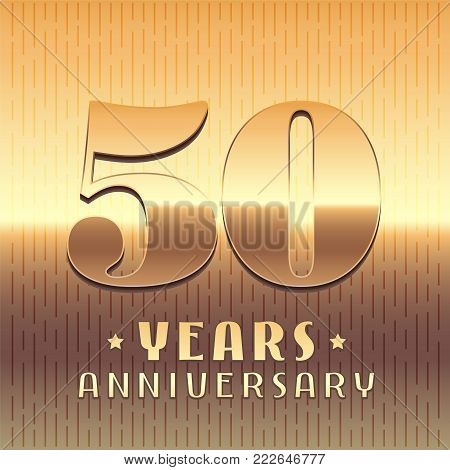 50 years anniversary vector icon, symbol. Graphic design element or logo with golden metal number for 50th anniversary