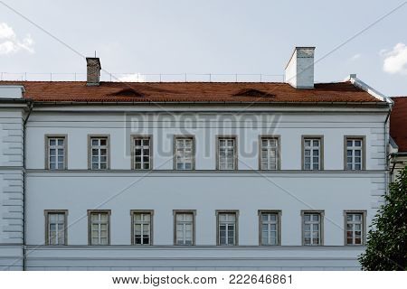 Budapest, Hungary - August 12, 2017: Museum of Military History of Hungary, located in the town of Buda in Budapest. Detail of facade