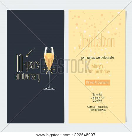 10 years anniversary invitation vector illustration. Design element with icon with age, lettering and bodycopy template for 10th anniversary greeting card, party invite