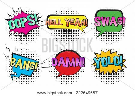 Bright contrast retro comic speech bubbles set with colorful gradiented SWAG, YOLO, BANG, DAMN text. Black outline balloons with halftone shadow in pop art style for advertisement, comics book design