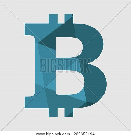 Bitcoin crypto currency sign icon for internet money. Blockchain based secure cryptocurrency. Polygonal style design