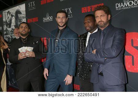LOS ANGELES - JAN 17:  O'Shea Jackson Jr, Pablo Schreiber, 50 Cent, Gerard Butler at the