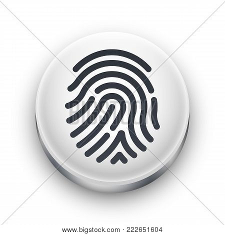 Fingerprint scanner icon. White round button with a black fingerprint shape. Concept of biometric identification and protection