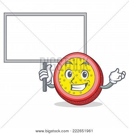 Bring board passion fruit character cartoon vector illustration