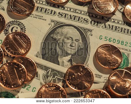 Dollar banknotes and coins (USD), currency of United States