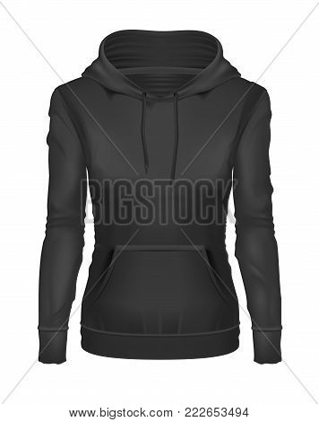 vector realistic black woman hoodie template mockup. Hooded sweatshirt, pullover, long sleeve sweater. Female clothing, apparel, illustration isolated on a white background ready for your design