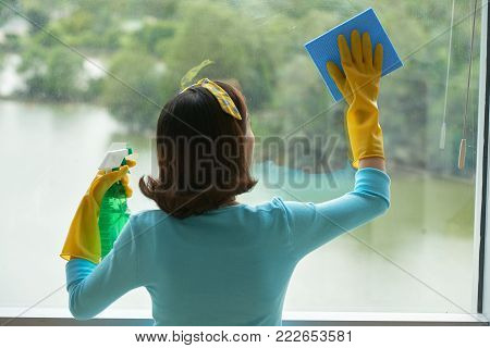 Back view of unrecognizable housekeeper cleaning panoramic window with help of rag and glass cleaner, picturesque view on background