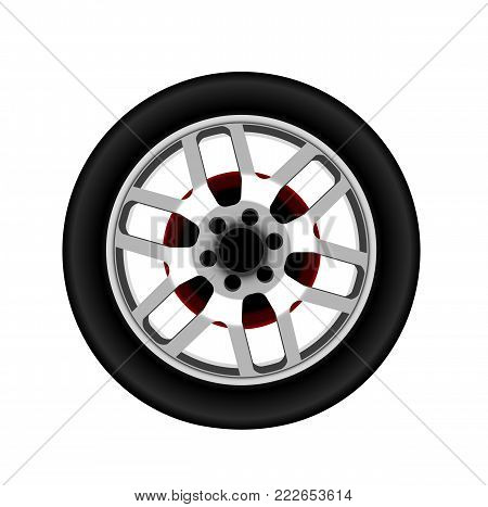Vector realistic passenger car alloy disk, rim silver aluminum wheel with tire. Isolated illustration, white background.