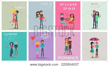 Love couple, romantic travel, happy Valentines day, people kissing and hugging, standing under umbrella, ice-cream and flowers vector illustration