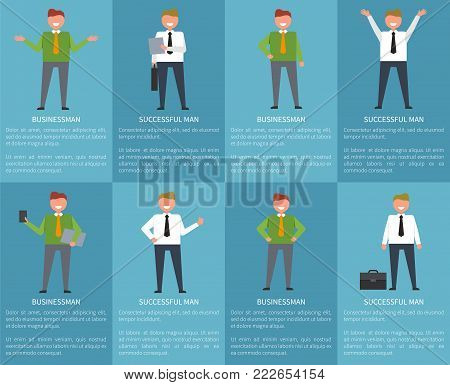 Businessman with succesful man on set of eight posters in different poses on blue background. Vector illustration of officially dressed office worker with folders or cases