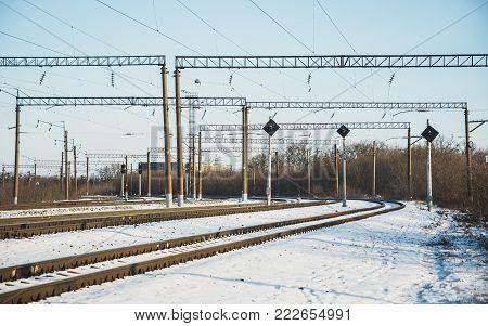 the railway siding, semaphores, signals winter road