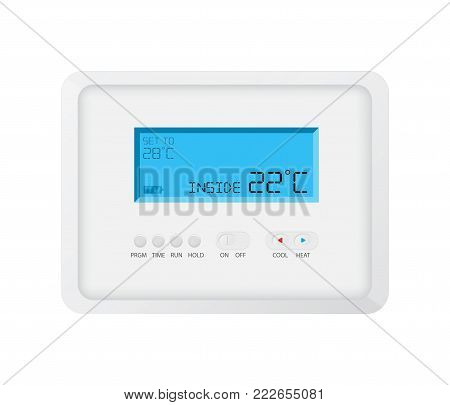 modern programmable thermostat on white background, vector design