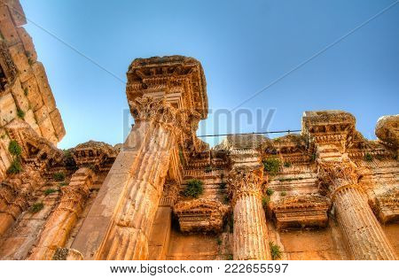 Ruins of Bacchus temple in Baalbek at Bekaa valley Lebanon