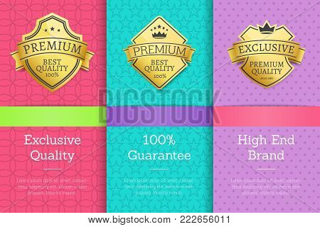 Exclusive quality 100 guarantee high end brand premium best golden labels sticker awards, vector illustration certificates posters covers isolated