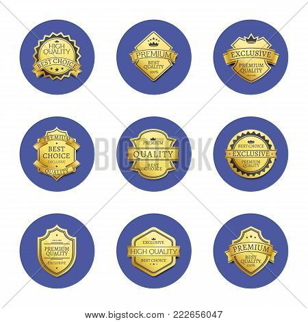 Collection of premium quality best golden labels guarantee sticker awards, vector illustration certificate emblems isolated on blue round circles set