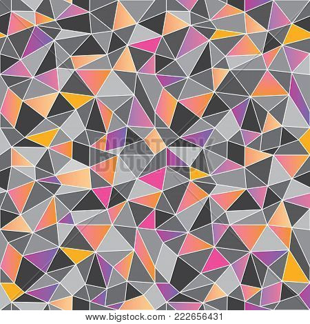 Geometric low poly graphic repeat pattern made out of triangular facets