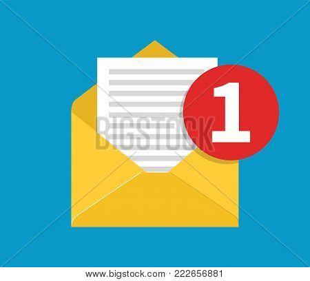 New Email, incoming message. Mail icon. concept of incoming email message, mail delivery service for social network, web or mobile app. Vector illustration in flat style