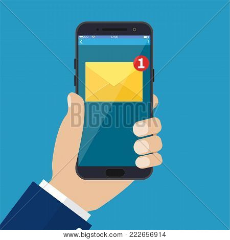 New email notification on mobile phone , smartphone screen with new unread e-mail message and read mail envelope icons. Vector illustration in flat style