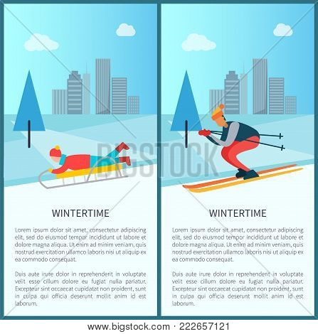 Wintertime recreation, sled and child lying on it, skier going down slope, pine trees and snowy weather, set of placards, vector illustration
