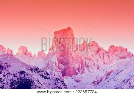 Naranjo de Bulnes at dawn in Picos de Europa National Park, Asturias, Spain