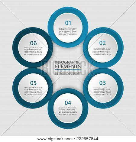 Step by step infographic. Template with 6 numbers can be used for workflow layout, diagram, chart, number options, web design, business presentation, trainings.