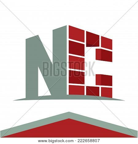 Icon logo for construction business with initials combination of letters N and C
