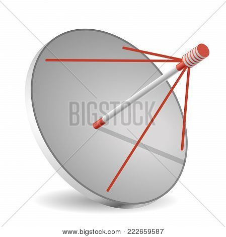 Vector satellite dish, isometric perspective, isolated, white background. Transmission aerial, telephone and television signals. Satellite TV receiver. Communication antenna sign, wireless technology.