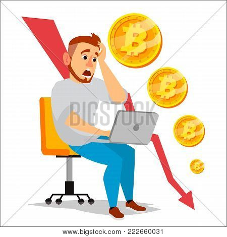 Bitcoin Crash Graph Vector. Bitcoin Crypto Currency Market Concept. Surprised Investor. Negative Growth Exchange Trading. Collapse Of Crypto currency. Annoyance, Panic. Flat Cartoon Illustration