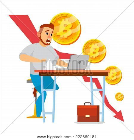 Bitcoin Crash Graph Vector. Bitcoin Price Drops. Price Market Value Going Down. Crypto Currency Market Concept. Surprised Businessman. Annoyance, Panic. Flat Cartoon Illustration
