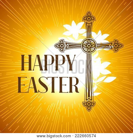 Silhouette of ornate cross. Happy Easter concept illustration or greeting card. Religious symbol of faith against sun lights.