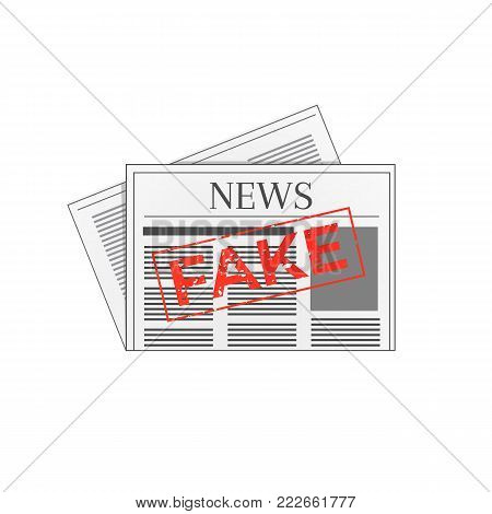 Newspaper icon marked with fake red grunge stamp