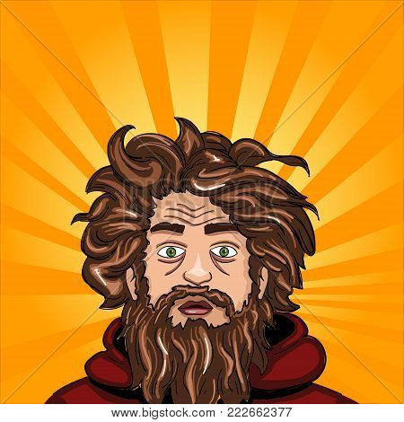 Head and face an untidy man. Homeless with a beard. Comic book style imitation. Vintage retro style. Conceptual illustration