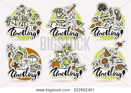 Travel hand draw sticker icons. Traveling cartoon stickers about adventure, outdoor activities, beach, summer, travelling, vacation. Traveling icon set in round circle form with airplane, transport, money, globe around the world