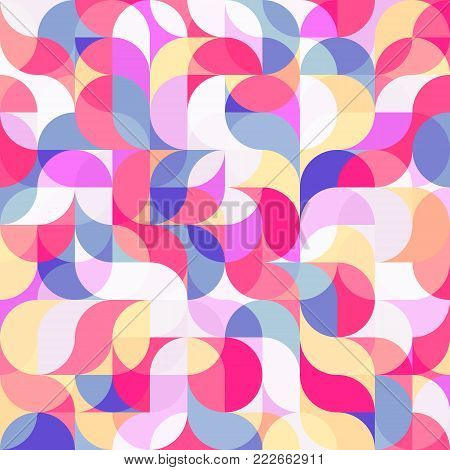 Abstract vector colorful geometric harmonic wave background in modern style for a flat pattern design booklet, folder, or for decoration and background