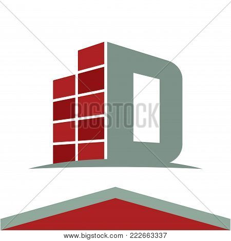 Icons for construction business logo with the initials letter D