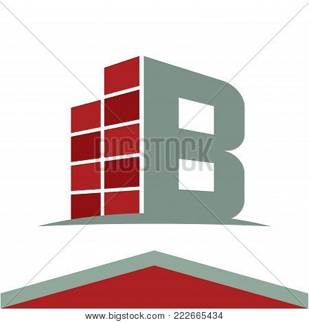 Icons for construction business logo with the initials letter B