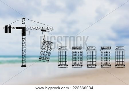hospitality industry conceptual illustration: crane building hotels one after the other